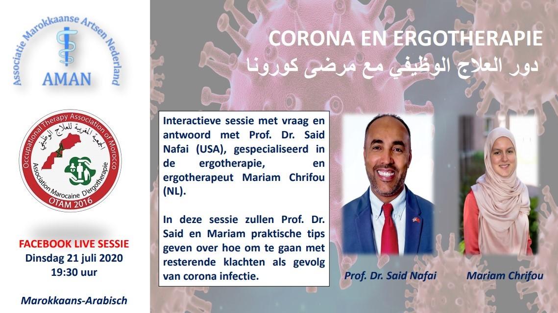 Corona en Ergotherapie, Facebook live sessie